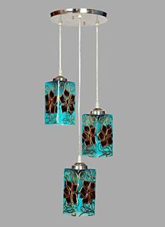Glass Triple Hanging Pendant Ceiling Lamp (Multicolour)   New and stylish designed innovated by designer for stylish, attractive and eye catcher look with royal finish Covered a big area with it's light and light sparking can adjust according to choice, wish and needs by changing bulb watts so power saver and full control on electricity bill