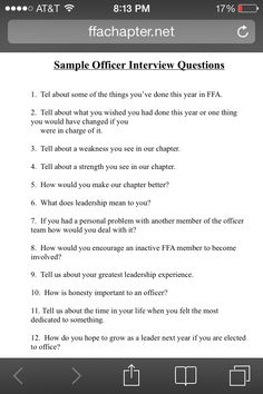FFA sample leadership officer interview questions