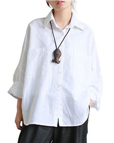 6bf5769302 Aeneontrue Women's Linen Raglan Sleeve Loose Button Down Shirts Blouses  Front 2 Big Pockets White Linen