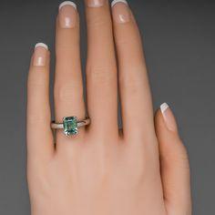 Blue Green Montana Sapphire Ring, 3.9 Carat No Heat