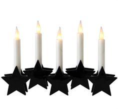 LED Fensterleuchter schwarz Stern 5 Kerzen Batteriebetrieb Weihnachtsdeko