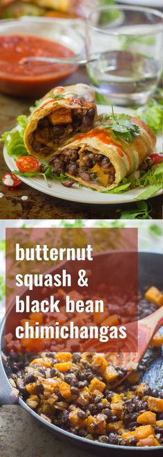 Crunchy on the outside, soft and spicy on the inside, these black bean and butternut squash chimichangas are a deliciously satisfying fall meal. Vegan Mexican Recipes, Vegan Dinner Recipes, Delicious Vegan Recipes, Dairy Free Recipes, Veggie Recipes, Fall Recipes, Whole Food Recipes, Cooking Recipes, Healthy Recipes