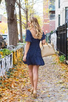 dot print swing dress outfit trench coat outfit nude heels outfit