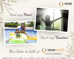 "Head says ""Home"" Heart says ""Vacation"" Now listen to both at Arkade Earth 1, 2 and 3 BHK apartments at Kanjurmarg East http://arkadeearth.com/ #ArkadeEarth #Kanjurmarg #Arkade #Mumbai #Residential #TheFutureIsNow"