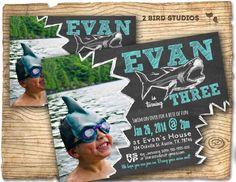 Shark invitation Shark attack birthday invite by 2birdstudios, $20.00 THIS ONE.