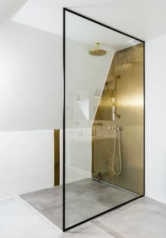 Brass shower wall