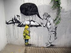 Street Art-Asia, similar to Banksy style, the image is all black and white except the coat of the boy. could also be related to pictures of new York streets.( the only coloured part are the yellow taxis)