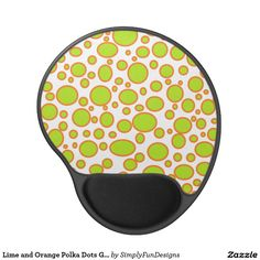 Lime and Orange Polka Dots Gel Mousepad
