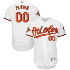 ca51e38ae Men Baltimore Orioles Majestic Home White 2017 Authentic Flex Base Custom  MLB Jersey with Commemorative Patch