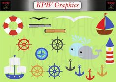Nautical Sailor Clip-art Set in a PNG format. Personal & Small Commercial use Png Format, School Projects, Business Cards, Sailor, Nautical, Commercial, Clip Art, Scrapbook, Invitations