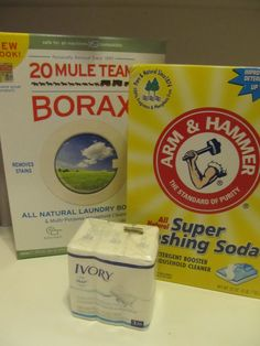 How to make your own Natural Laundry Detergent with Borax, Arm & Hammer Washing Soda, and Ivory soap!