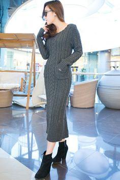 strickkleid grau strickmode longpullover winterkleider damen