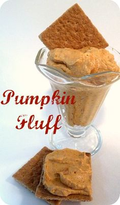 Pumpkin Fluff- Yummy, pumpkin-y and low-fat!  Top with a crushed Biscoff cookie or graham cracker and you are in for the perfect fall treat!
