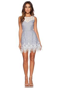 Greylin Mindi Lace Trim Dress in Blue | REVOLVE