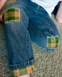 Jeans: add a cuff, patched knees, etc.  AWESOME:   Modern Mending Lesson 3
