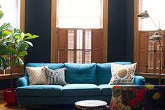 black betty paint with acorn bed - master.  Black Walls, Blue Sofa #makingitlovely