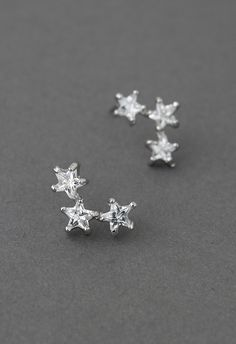 Triplet Crystal Star Earrings -