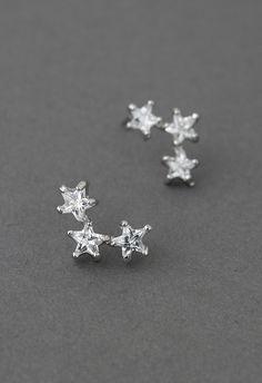 Triplet Crystal Star Earrings//