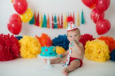 www.waterhousestudios.com, NC photographer, children's photography, children's studio photography, birthday session, cake smash session, red, yellow, orange, and blue themed, first birthday photography