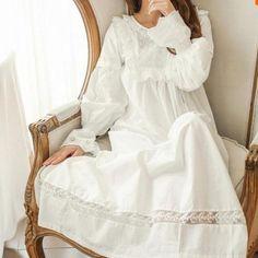 Buy Pure Royal Memory Pure Cotton Nightgown Princess Long Sleeve Nightdress Ladies Sleepwear at Wish - Shopping Made Fun White Nightgown, Vintage Nightgown, Long Silk Nightgown, Mode Vintage, White Women, Pyjamas, Nightwear, Night Gown, Lounge Wear