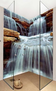waterfall bathroom tiles. use any photo you want to make custom wall tiles. I love it.