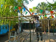Arbor Cephas made from the bamboo on his property