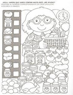 123 Manía: actividades de matemática para imprimir, resolver y colorear - Betiana 1 - Веб-альбомы Picasa Más Kindergarten Worksheets, Teaching Math, Preschool Activities, Fun Worksheets For Kids, Educational Activities, Learning Activities, Kids Learning, Hidden Pictures, Math For Kids