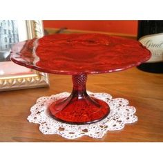 RUBY RED GLASS CAKE STAND-