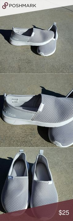 Adidas light grey slip on shoes Worn twice Size 9 Slip on shoes Memory foam sole No Trades Adidas Shoes Sneakers