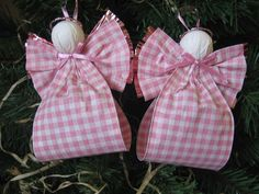 Angel Christmas Ornaments Pink and White Plaid Paper Ribbon Angel Tree Ornaments Set of Two. $6.50, via Etsy.