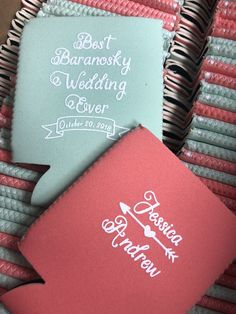 Look at these beautiful colors for a beach wedding! These are our mint and coral in neoprene. www.kustomkoozies.com Use code Pinterest for 15% off  #wedding #favor #kustom #koozies #coozies #huggies #bestweddingfavor #destinationwedding Wedding Koozies, Free Graphics, Kustom, Personalized Wedding, Drink Sleeves, Destination Wedding, Coral, Mint, Wedding Dresses