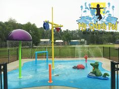 This 20' X 25' free form community park splash pad is the talk of the town. With 6 fun above ground water play features and 12 below ground nozzles, the kids are going to get soaked!
