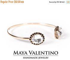 Rose Gold Cuff bracelet-Swarovski by MayaValentino on Etsy