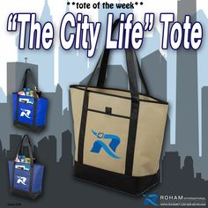 #ToteoftheWeek– The City Life Tote! A roomy and convenient bag that would be perfect with your business branding for all promotional and corporate events, trade shows, groceries, day at the beach, travel and more. It is also eco-friendly as it is reusable and recyclable.  Contact us today for details at 888-99-ROHAM