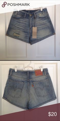 Levis high waisted denim shorts Supreme Curve design to complement curves from the waist to thigh! Very flattering! Never worn. There is a tag that says it is an irregular product, but I have yet to figure out how it is irregular. Levi's Shorts Jean Shorts