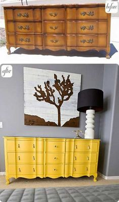 Oh how I love bright yellow furniture these days ... DIY Interior Decorating, DIY Furniture Makeovers