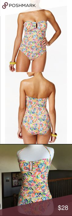 Lauren Ralph Lauren Swimsuit⛱ Lauren Ralph Lauren stunning one piece bandeau in lovely paisley print/colors with gold hardware at bust. Worn once, no flaws! Size 4. Mannequin size Small 2-4. Lauren Ralph Lauren Swim One Pieces