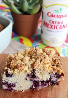 Blueberry Queso Fresco Crumble Cake with Cacique Crema Mexicana and Ranchero Queso Fresco