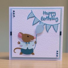 Birthday Card Cute Mouse Birthday Card For Children/ Kids/