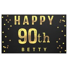 Shop Happy Faux Gold Foil Confetti Black Banner created by GroovyGraphics. Happy 60th Birthday, Happy Birthday Banners, Black Banner, Outdoor Banners, Gold Polka Dots, Word Out, Gold Foil, Confetti, Party Ideas