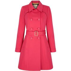 Yumi Classic Trench Coat ($135) ❤ liked on Polyvore featuring outerwear, coats, jackets, clearance, pink, red trenchcoat, red waist belt, pink waist belt, pink double breasted coat and pink coat