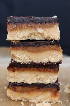 Dangerously delicious, no bake six ingredient, three layer chocolate and caramel Vegan and Paleo Millionaires Shortbread.