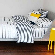 graphic black white grey yellow bedroom striped quilt