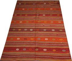 bohemian kilim rug gift for mom orange rug 5x8 by POCCARugs