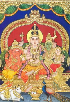 the first family with their vahanas - Tanjore painting of Shiva, Parvathi, Ganesha and Karthikeya Mysore Painting, Tanjore Painting, Om Namah Shivaya, Lord Shiva Family, God Pictures, Amazing Pictures, Ganesha Painting, Indian Folk Art, Hindu Deities