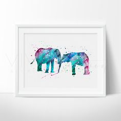 Elephant Family Watercolor Art. This art illustration is a composition of digital watercolor images and silhouettes in a minimalist style.