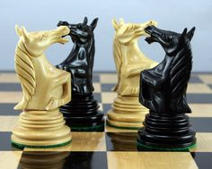 """4.25"""" Roaring Knight Solid Ebony and boxwood chess pieces! Fine, beautiful!"""