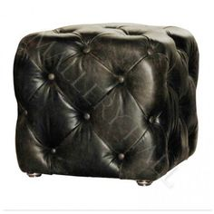 Black Tufted Leather Cube Ottoman