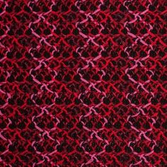 How often do you find a luminous and intricate pattern on a wool knit!?! Here we have a medium weight, black, wool knit topped with shiny acrylic yarns in various shades of pink and red. What is so unique about the dynamic geometric pattern in this wool knit is that if you look close enough, you will find that the different color yarns actually form stripes running parallel to the selvage (or in other words along the warp). The material itself is loosely woven, very soft, and contains very…