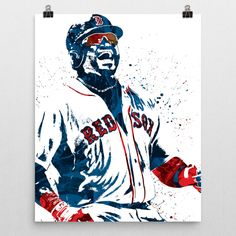 """David Ortiz poster. Nicknamed """"Big Papi"""", is a Dominican American professional baseball player who plays for the Boston Red Sox of Major League Baseball (MLB). Ortiz is a nine-time All-Star, a three-t"""